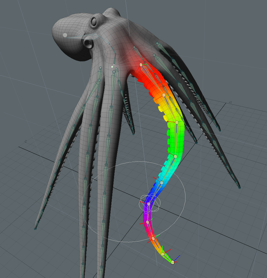 Octopus weight mapping of tentacles